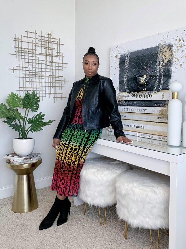rainbow print maxi dress