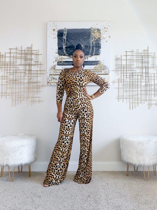 2 piece lounge set - leopard