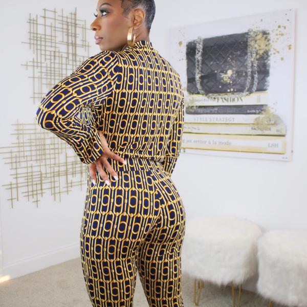 printed bodysuit pants set
