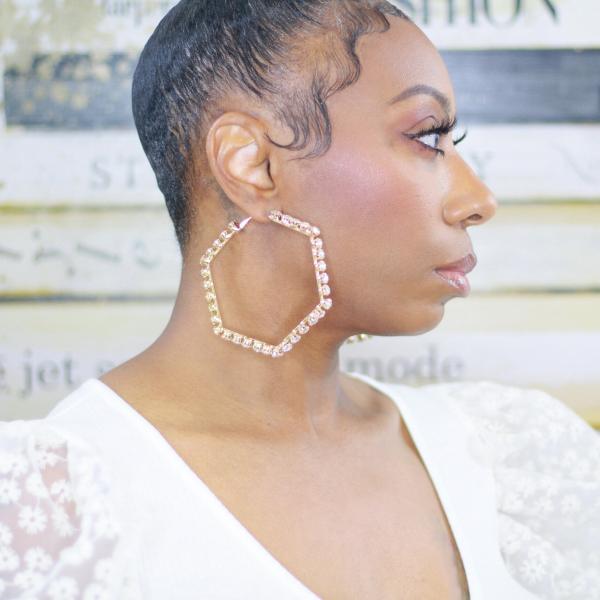 Oversized rhinestone hexagon hoop earrings