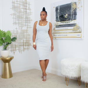 ribbed knit tank midi dress