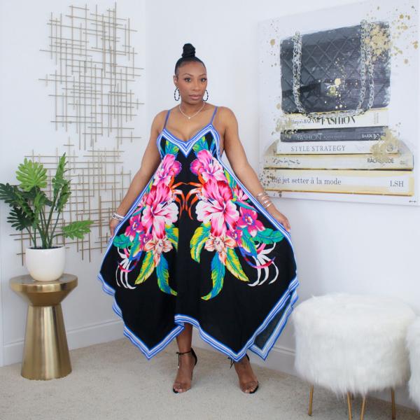 floral printed handkerchief dress