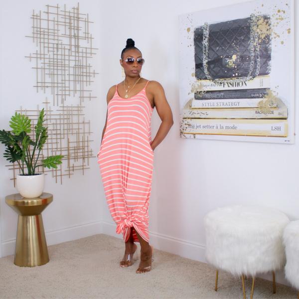 coral stripe spaghetti strap maxi dress