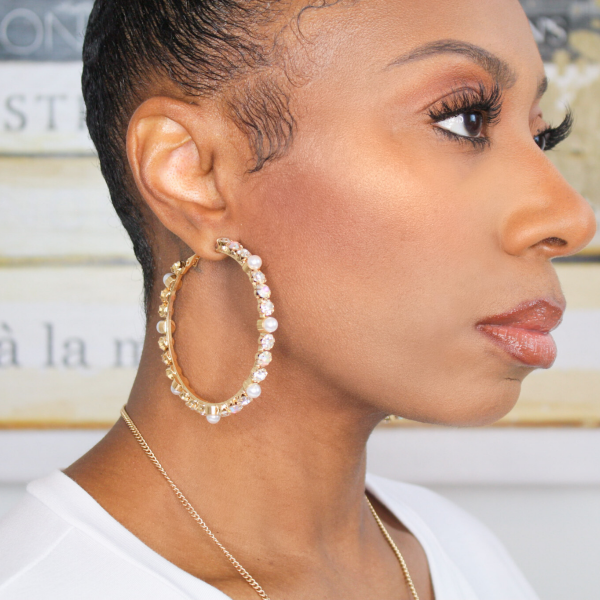 pearl and rhinestone hoop earrings