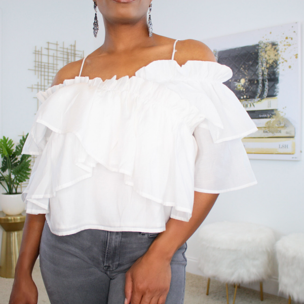 off the shoulder tiered ruffle top