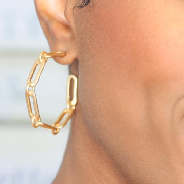 gold chain link hoop earrings