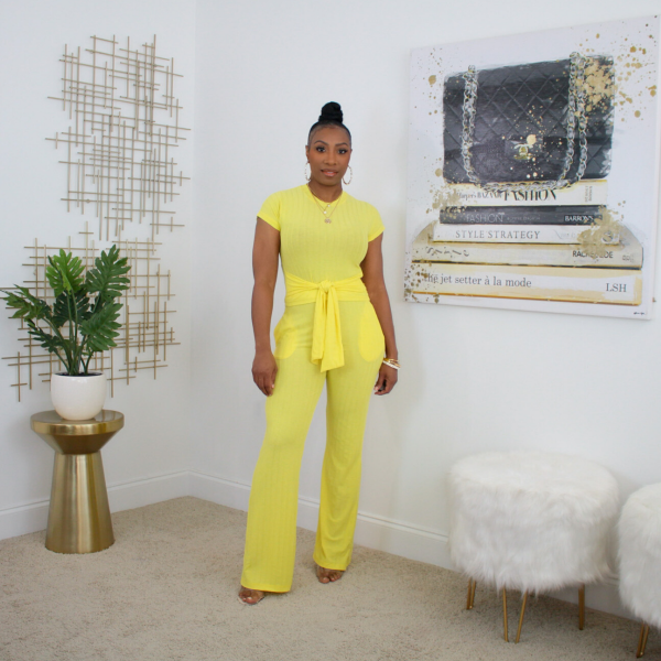 short sleeve 2 piece tie waist pant set yellow