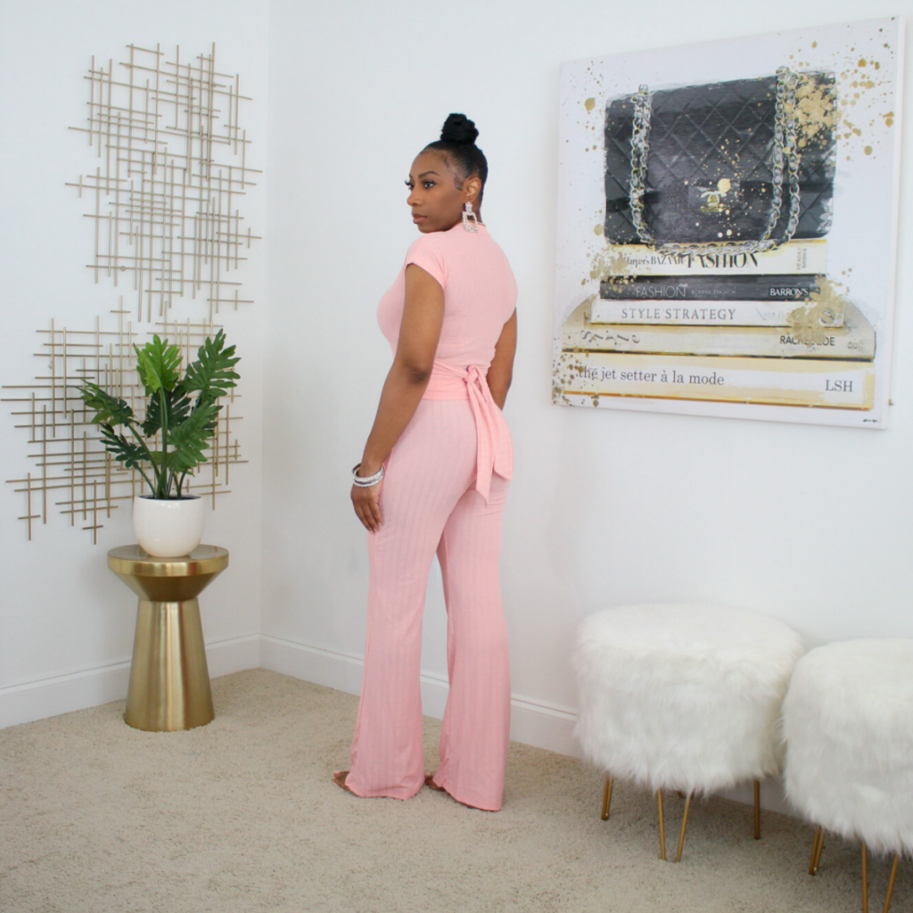 short sleeve 2 piece tie waist pant set pink