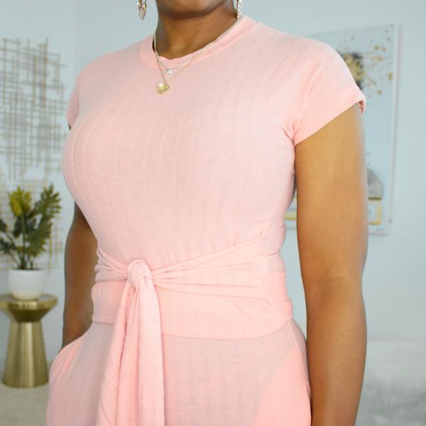 short sleeve 2 piece tie waist pant set pink