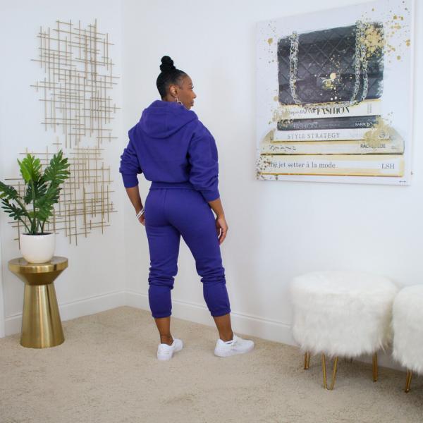 zip up hoodie jogger pants set purple