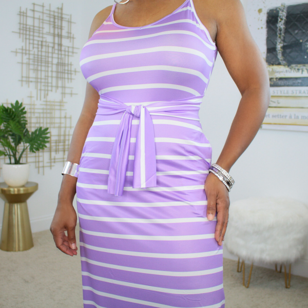 Belted Spaghetti Strap Maxi Dress