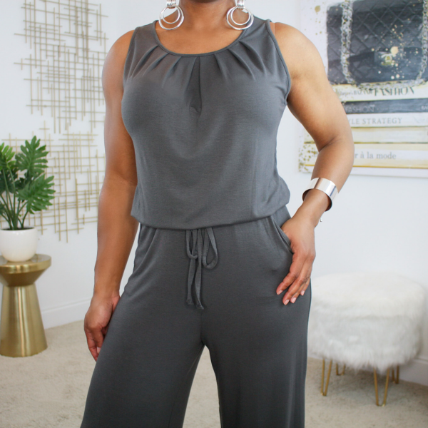 sleeveless tie front jumpsuit charcoal