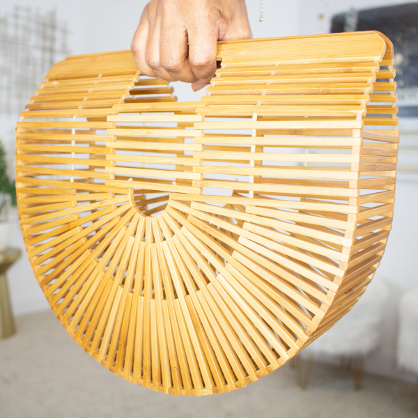 Half Moon Bamboo Cage Bag