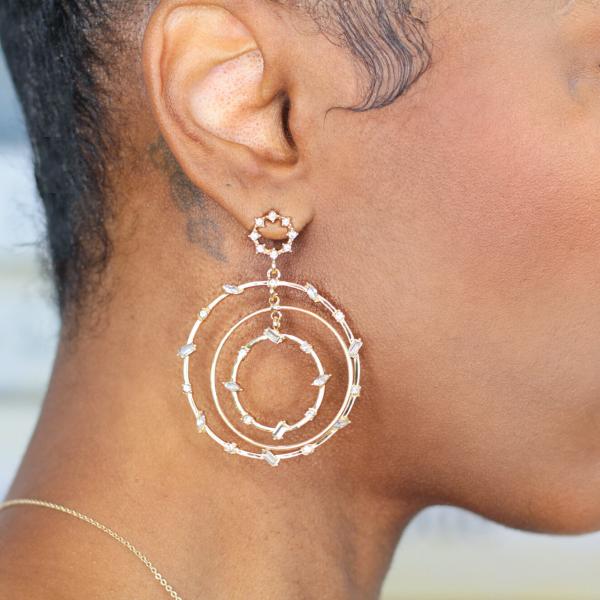 layered hoop statement earrings