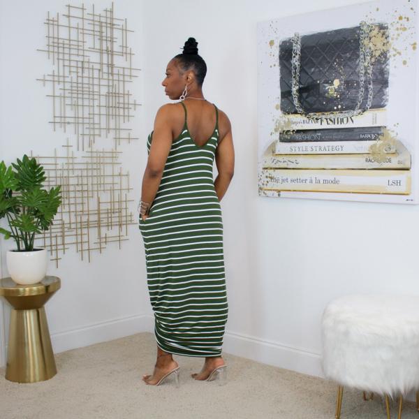 olive stripe maxi dress