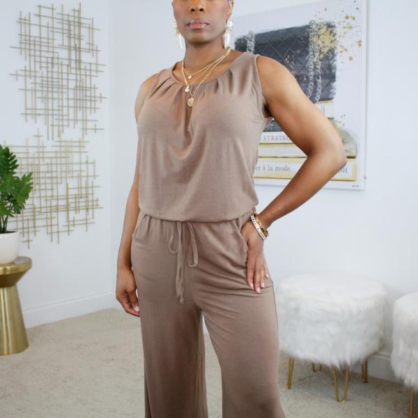 sleeveless tie front jumpsuit