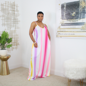Pink Ombre Stripe Maxi Dress