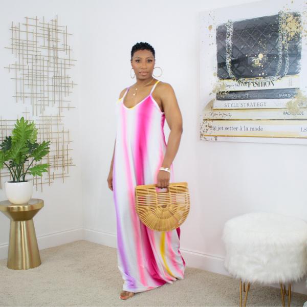 Pink Ombre Stripe Maxi Dress