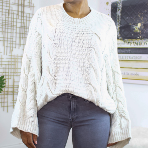 oversized bell sleeve knit sweater