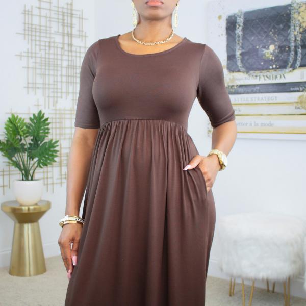 short sleeve maxi dress with pockets (chocolate)
