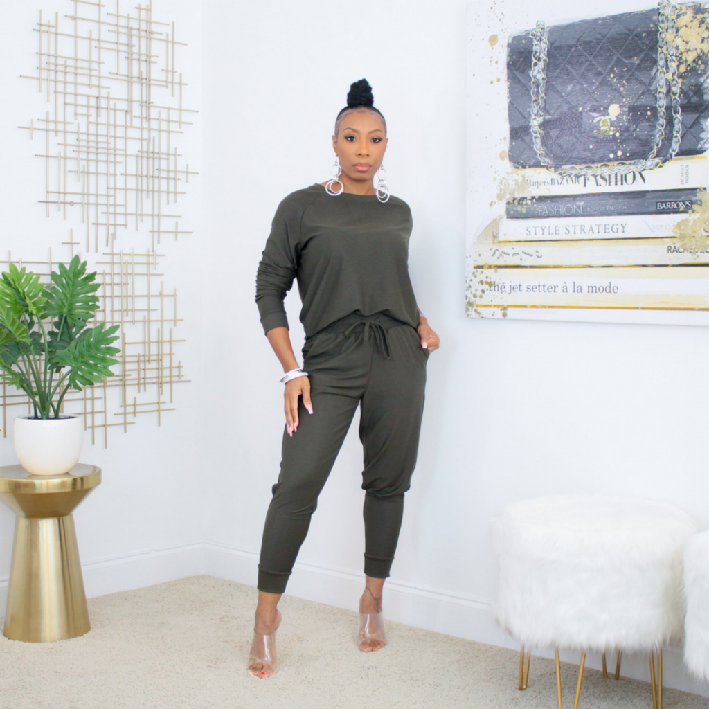 ankle jogger set (olive)