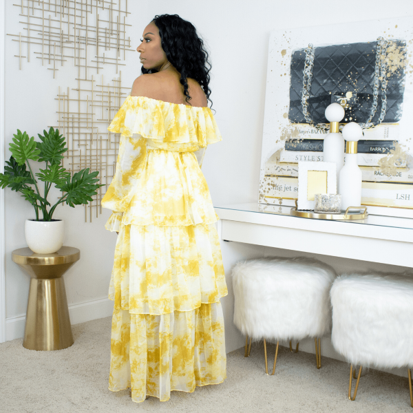 marble tier maxi dress yellow
