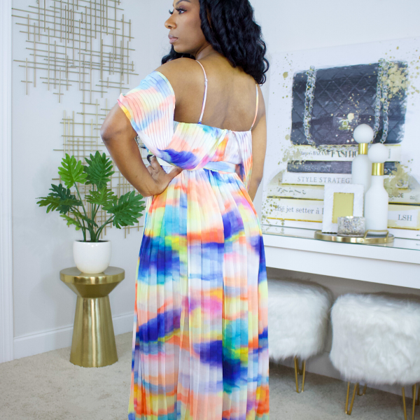 Watercolor pleated maxi dress