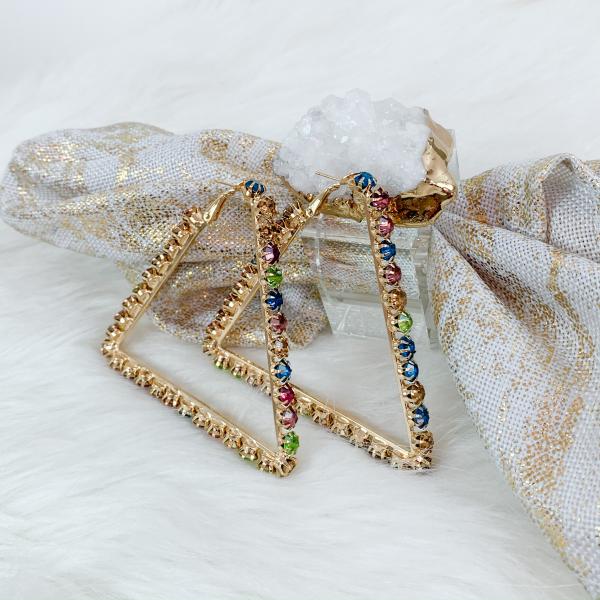 Multicolor Rhinestone Triangle Hoop Earrings3
