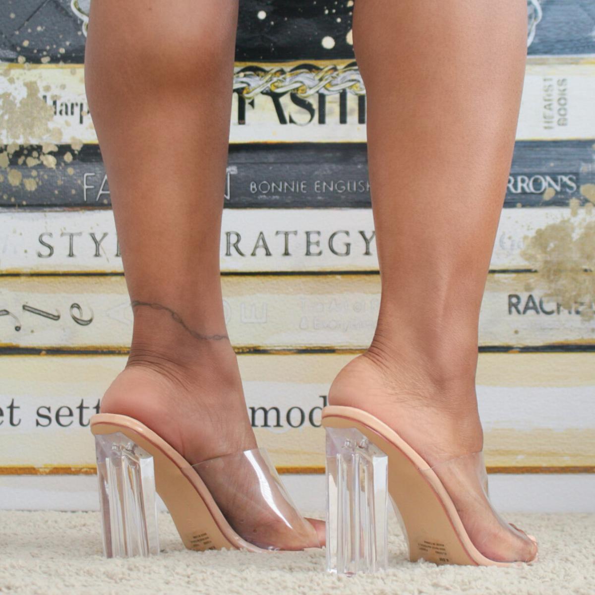 Clear Block Heel Mules | Kurated Kloset