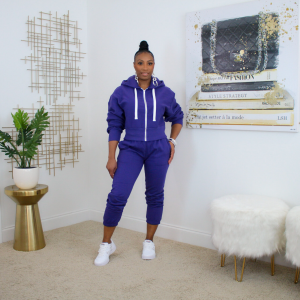 zip up hoodie jogger pants set purple