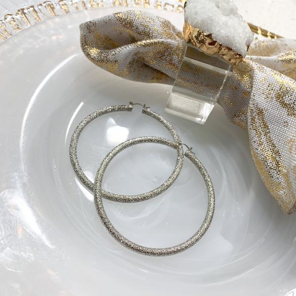 glitter hoop earrings (silver)