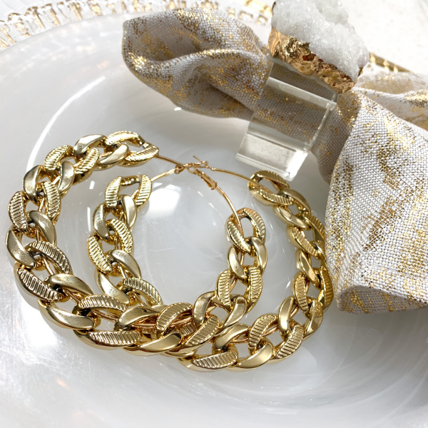 oversized chain link hoop earrings gold