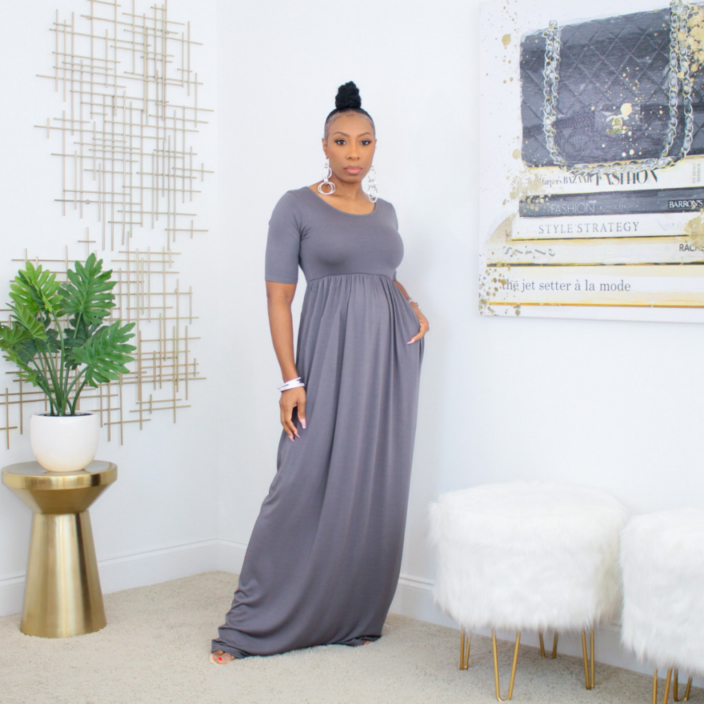 short sleeve maxi dress with pockets (ash gray)