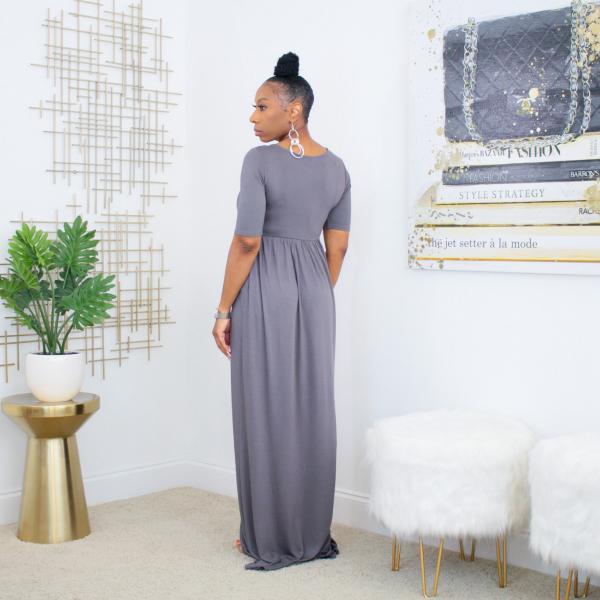 short sleeve maxi dress with pockets (ash gray)