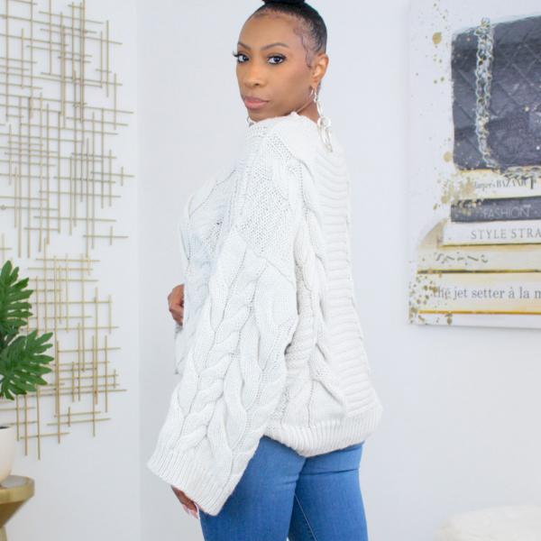 oversized bell sleeve knit sweater