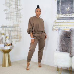 balloon sleeve jogger set (mocha)