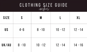 kurated kloset size guide