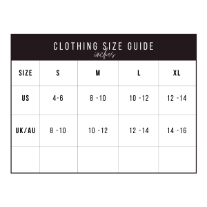 KURATED KLOSET SIZE CHART