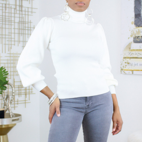 puff sleeve turtleneck sweater (white)