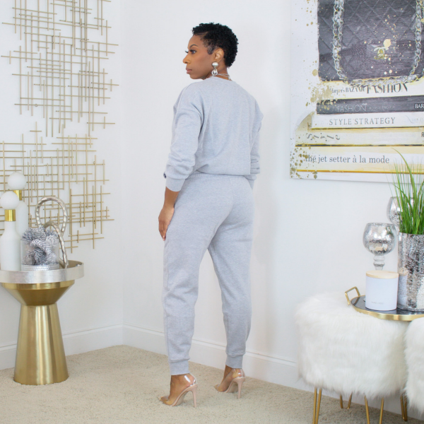 crewneck sweatpants set (gray)