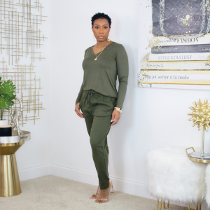 long sleeve tee & ankle jogger set (olive)