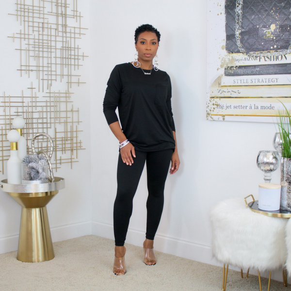 Long sleeve fitted tee and leggings set (black)