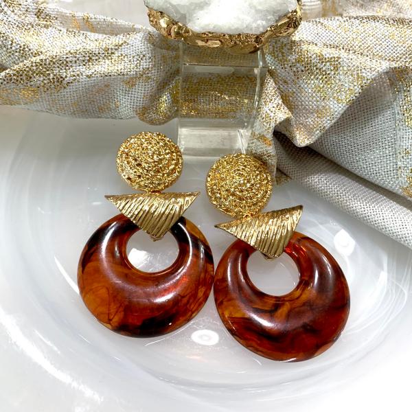golden amber statement earrings