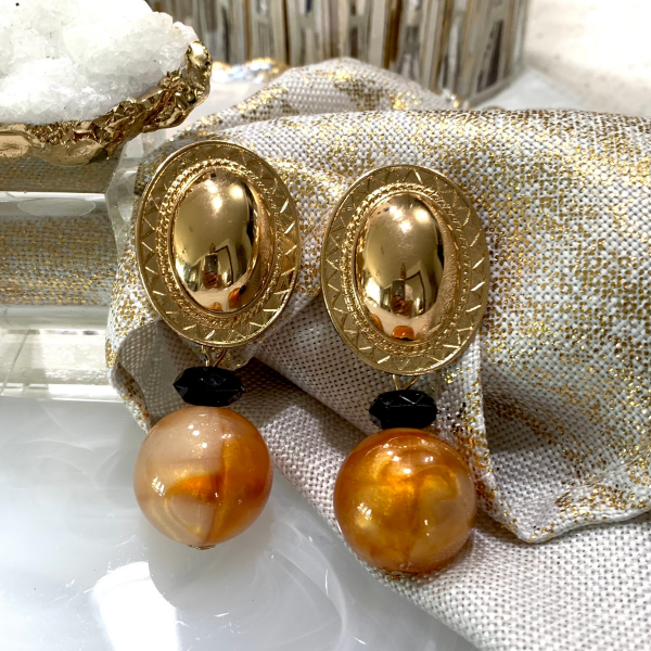 gold pendant marble statement earring