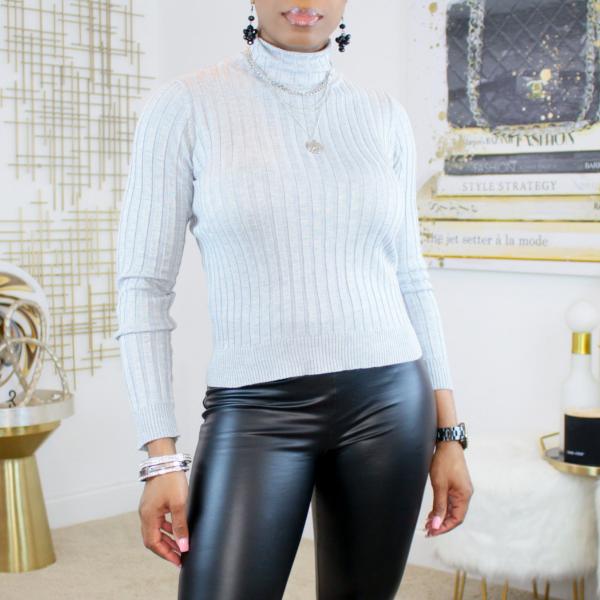 Ribbed mock neck long sleeve sweater (gray)