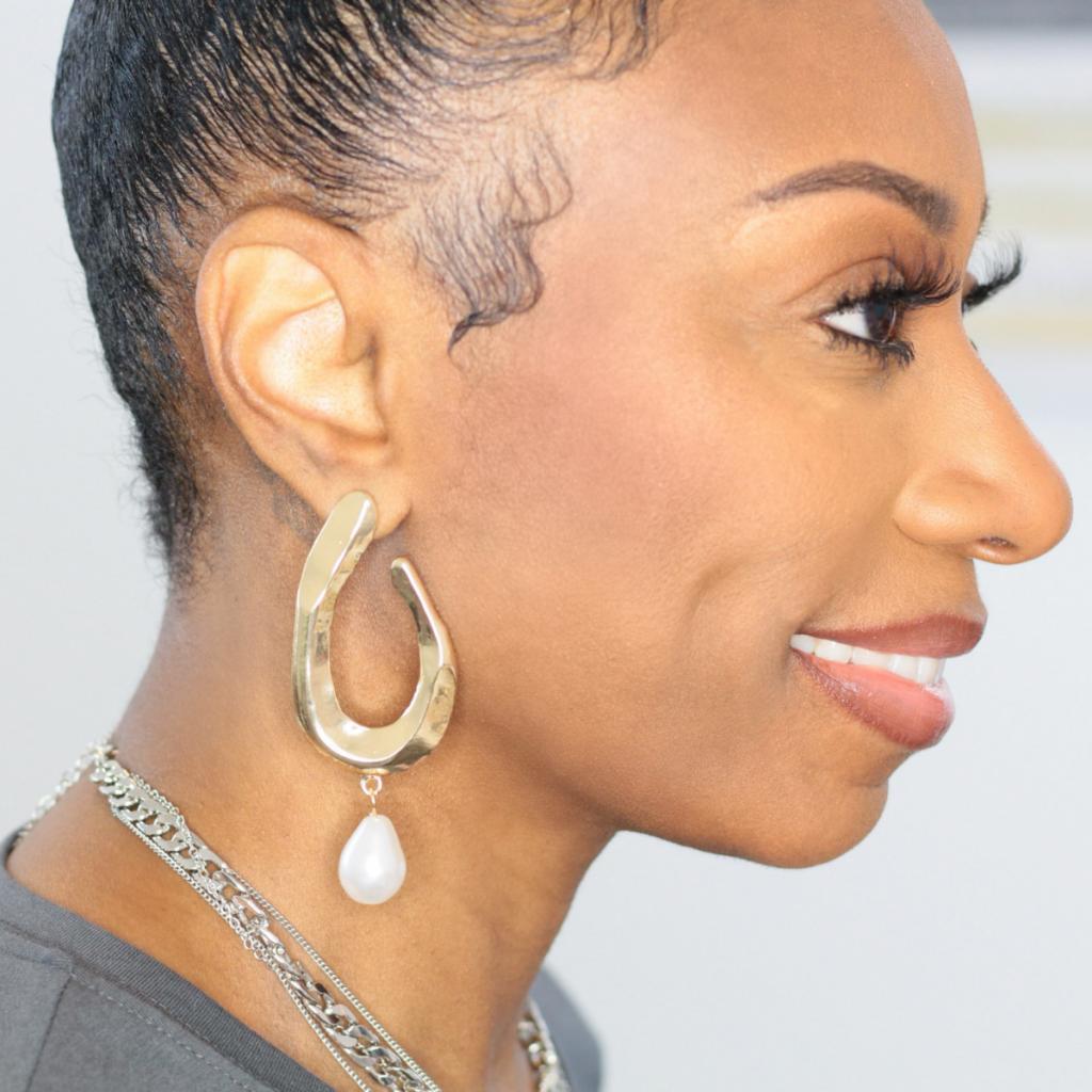 pearl drop statement earrings