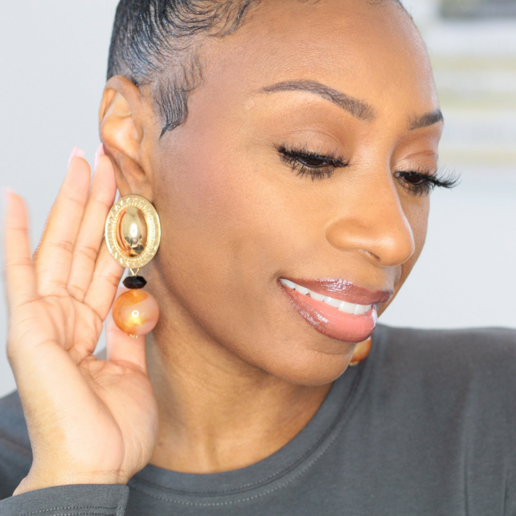 Gold Pendant and Marble Statement Earrings