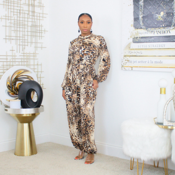 Printed Tie Waist Jumpsuit with attached mask