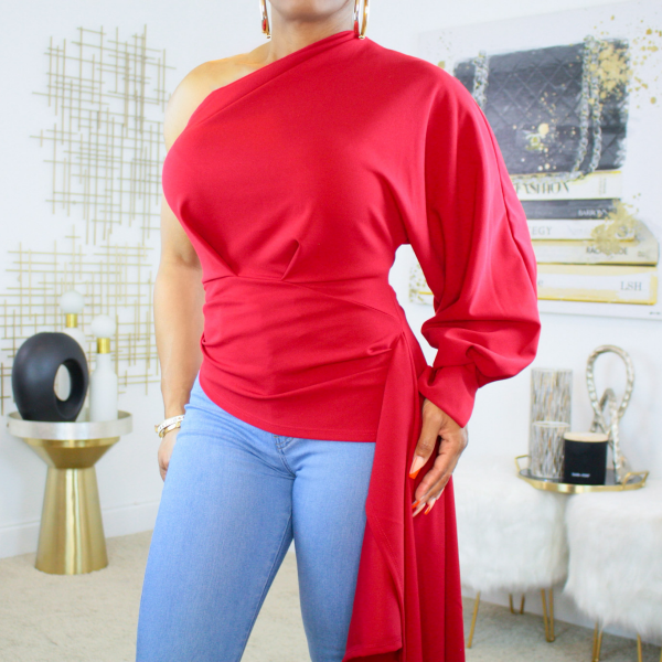 One Shoulder High Low Top (Red)