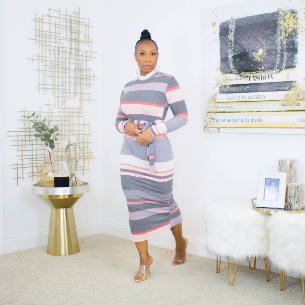 Belted Striped Maxi Dress